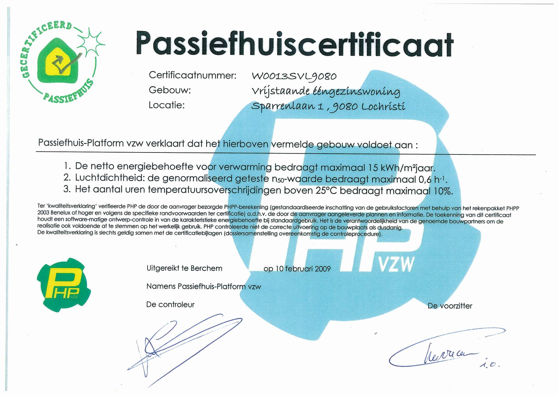 Passief huis certificaat